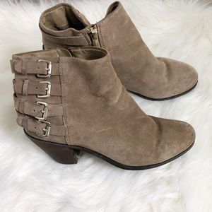 Sam Edelman Lucca Suede Taupe Buckle Boots Size 8